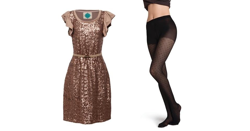 A meia-calça de corações combina com um vestidinho romântico de paetê. Vestido R$ 299, na Antix (Tel.: 11 3047-6292). Meia-calça de corações R$ 29,90, na Hering (SAC 0800 473 114)