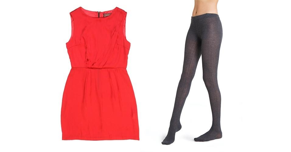 A meia-calça permite criar looks dentro da tendência dos blocos de cores. Vestido vermelho; R$ 149,90, na Opção (Tel: 21 2249-2966). Meia-calça cinza; R$ 49,90, na Hering (SAC 0800 473 114)