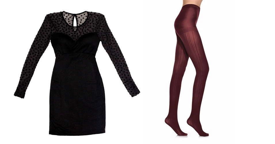 A meia-calça vinho listrada traz cor, sem criar muito contraste no look com vestido preto com mangas transparentes. Vestido preto; R$ 263, na Zinco (Tel.: 44 3351-5000). Meia-calça listrada vinho; R$ 19, no Walmart (SAC 0800 705 50 50)