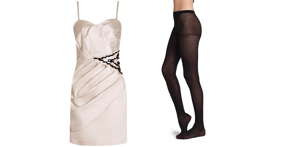 Combine os detalhes do vestido com o desenho da meia, como este modelo com bordado na cintura semelhante à meia. Vestido bege R$ 375, na Lez a Lez (Tel.: 47 3373-7000). Meia-calça preta com desenhos de losângulos; R$ 29, 90, na Hering (SAC 0800 473 114)