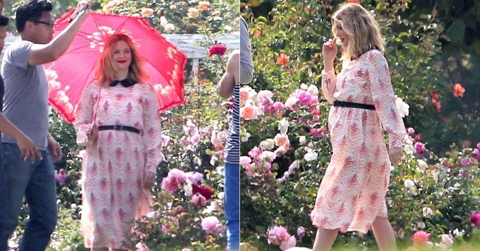 Grávida, Drew Barrymore posa para fotos (30/4/12)