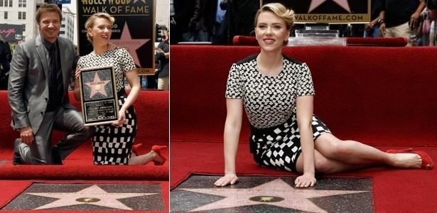 Jeremy Renner e Scarlett Johansson durante cerimônia em que a atriz recebeu uma estrela na Calçada da Fama, em Hollywood (2/5/12)