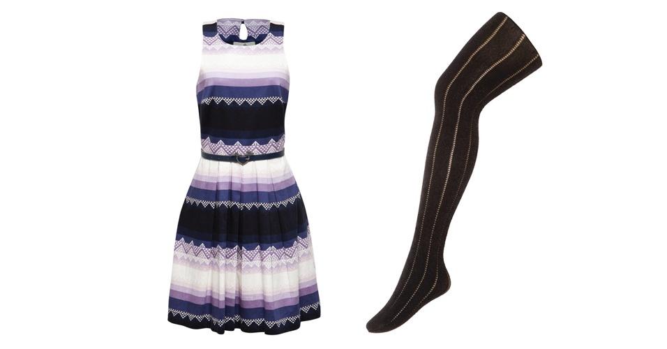 Misturar duas direções, tamanhos e cores de listrados pode criar um resultado bacana. Vestido estampado em azul e branco; R$ 253, na Antix (Tel.: 11 3047-6292). Meia-calça preta; R$ 79,90, na Trifil (SAC 3598-2178)