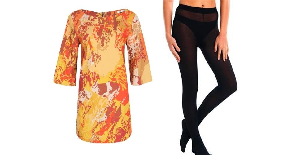 Não deixe de lado a meia-calça preta básica, ela é um coringa e pode ser usada com quase todo tipo de vestido. Vestido estampado; R$359,80, na Patogê (SAC  31 3334-2014). Meia-calça preta fio 70; R$15,99, na Marisa (SAC: 4004-2211)
