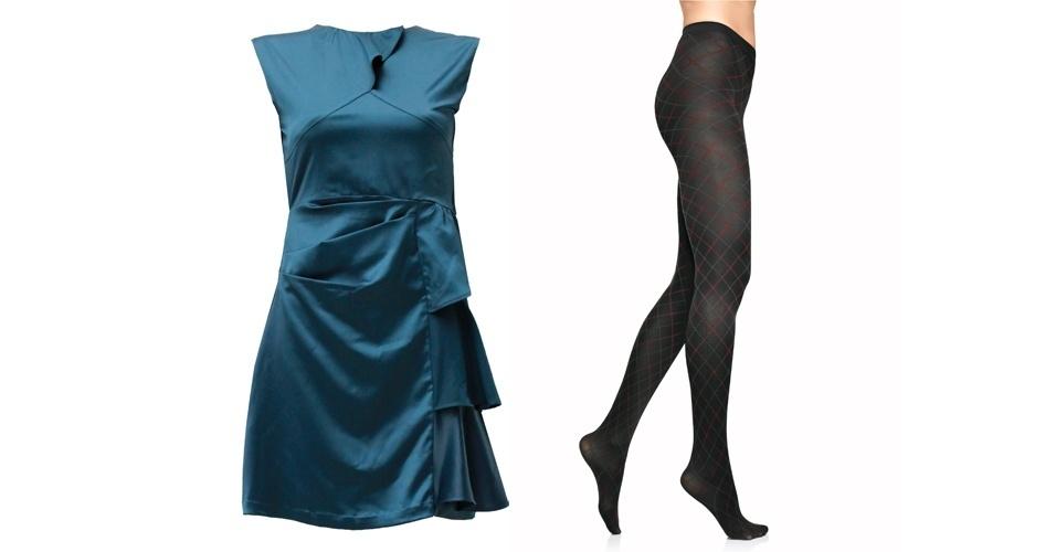 Nos dias frios, use o vestido com babados nas laterais com uma meia-calça com xadrez discreto. Vestido azul; R$ 410, na Heloisa Faria (Tel.: 11 3081-7733). Meia-calça xadrez, R$ 24, na Lupo (SAC 0800 707 8220)