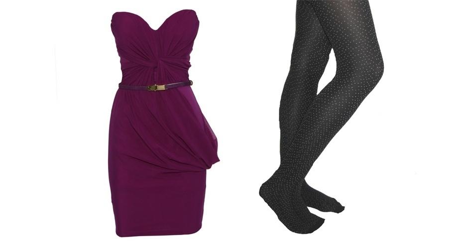 O tomara-que-caia roxo combina com uma meia-calça preta de bolinhas brancas. Vestido roxo R$ 449,90, na Lança Perfume (SAC 0300 140 6900). Meia-calça de poá; R$ 25,99, na Leader (SAC 4003-1184)