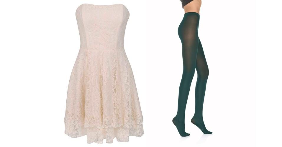O vestidinho de renda branca pode ficar mais moderno ao ser usado com uma meia-calça verde. Vestido tomara-que-caia; R$ 119, na Renner(Tel.: 11 2165-2800). Meia-calça opaca verde; R$ 17, no Walmart (SAC 0800 705 50 50)