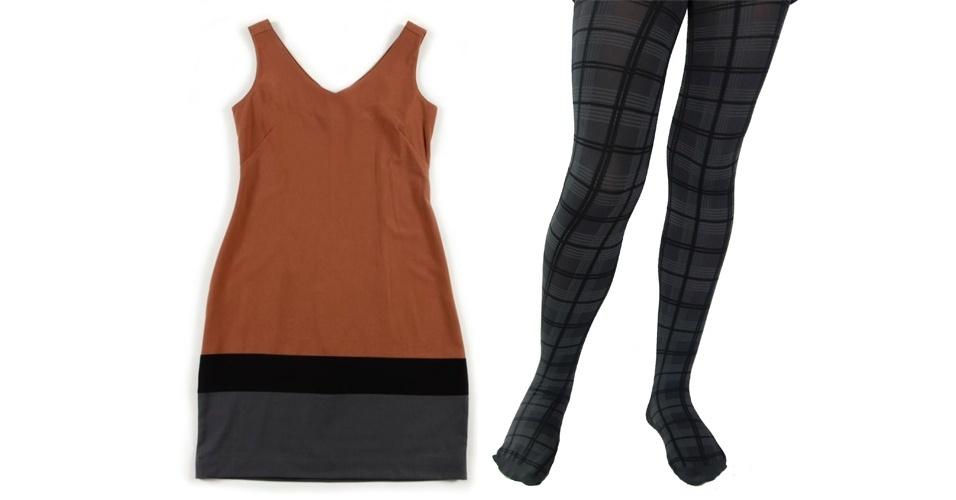 O vestido com blocos de cores neutras podem ser usados com meia-calça xadrez que possua alguma das cores da peça de cima. Vestido regata; R$ 59,90, na Riachuelo (SAC 0800 701 4342).. Meia-calça xadrez; R$ 25,99, na Leader (SAC 4003-1184)
