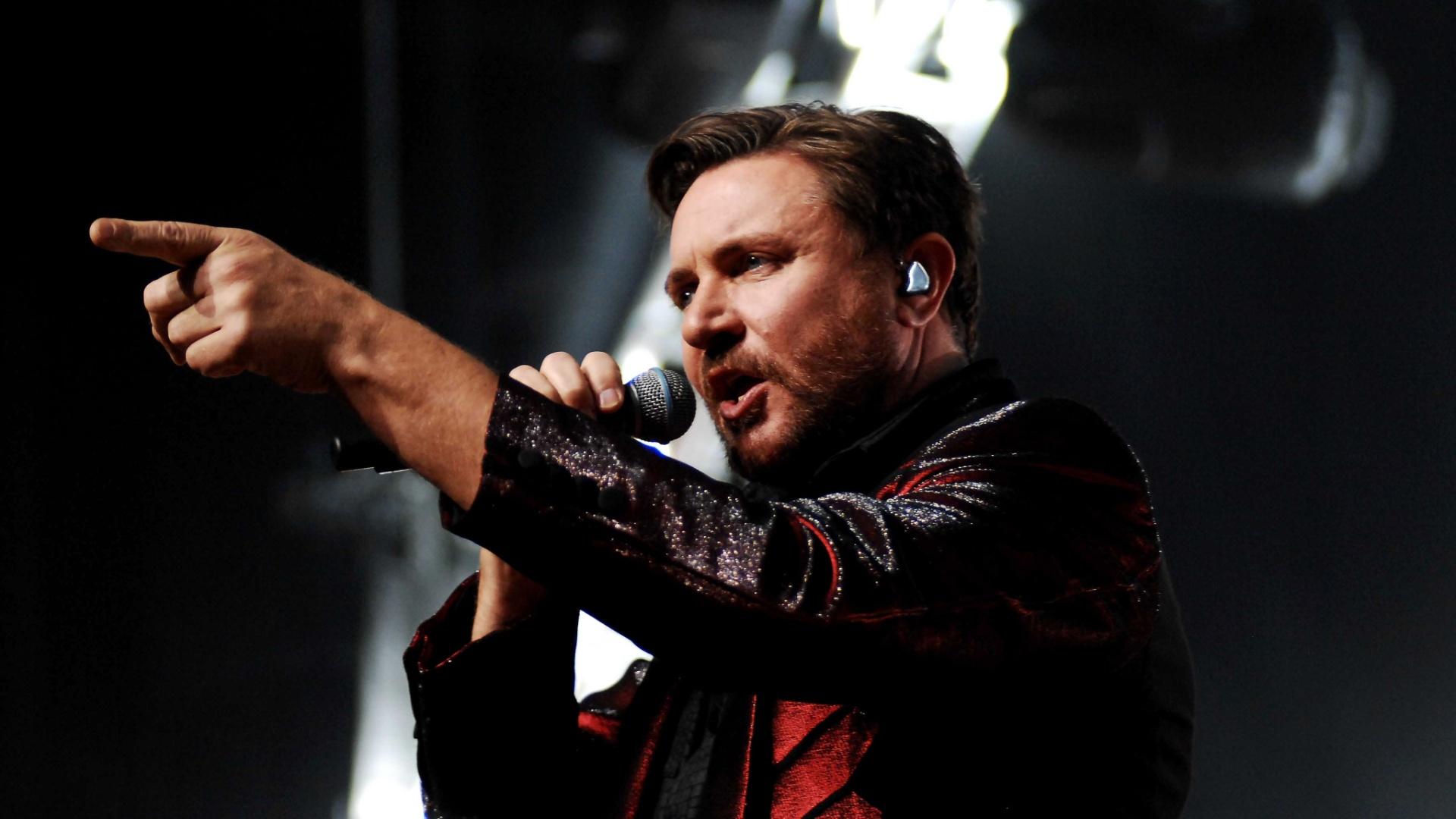 O vocalista Simon LeBon durante show do Duran Duran no Credicard Hall, em São Paulo (2/5/12)
