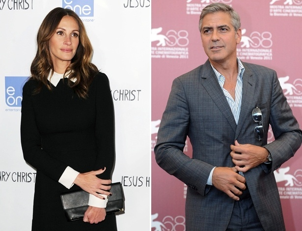 Os atores Julia Roberts e George Clooney