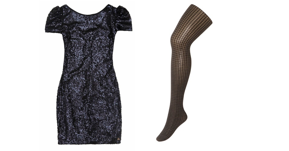 Os vestidinhos de paetê estão em alta e você pode combiná-los com uma meia-calça com desenho discreto . Vestido preto de paetê; R$ 329,90, na Zinco (Tel.: 44 3351-5000). Meia-calça preta com desenho geométrico; R$ 24,90, na Trifil (SAC 11 3598-2178)