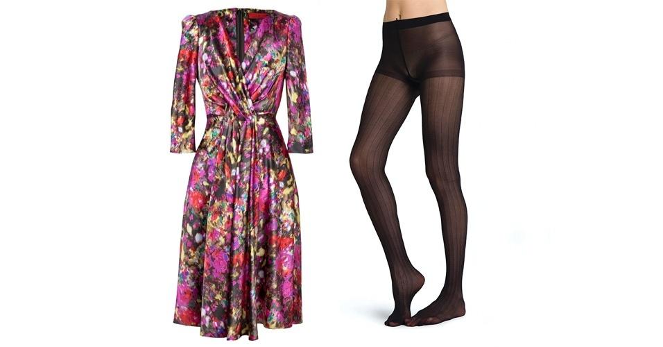 Para as pernas, escolha a cor mais escura presente na estampa do vestido. Vestido estampado; R$ 1.530, na Carolina Herrera (Tel.: 11 3552-7777). Meia-calça preta listrada; R$ 29,90, na Hering (SAC 0800 473 114)
