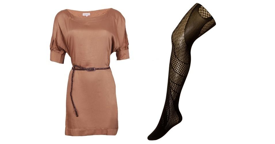 Para combinar com um vestido básico com decote canoa, aposte em uma meia-calça grossa com várias padronagens. Vestido pege de seda; R$ 139,80, na Polo USA (Tel.: 11 3399-3237). Meia-calça preta R$ 29,90, na Trifil (SAC 3598-2178)