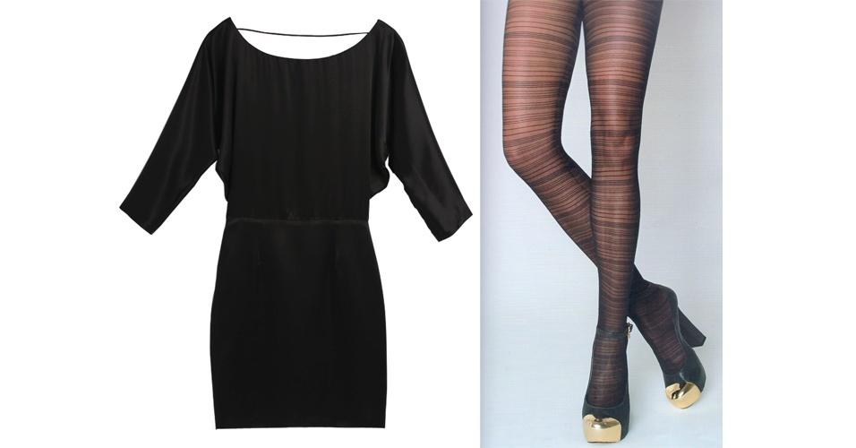 Para deixar o vestidinho preto mais interessante, aposte em uma meia-calça listrada. Vestido preto R$ 998, na Bo Bô (Tel.: 11  3062-8145). Meia-calça listrada; R$ 84,90, na Morena Rosa (Tel.: 44 3351-5000)