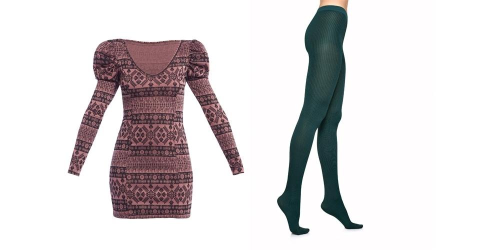 Quem tem medo de misturar cores em look, pode investir em dois tons mais apagados, como o lilás e o verde. Vestido estampado de manga longa; R$ 169,90, na Equus(Tel.: 11 2797-9999).  Meia-calça listrada verde; R$24, no Walmart (SAC 0800 705 50 50)
