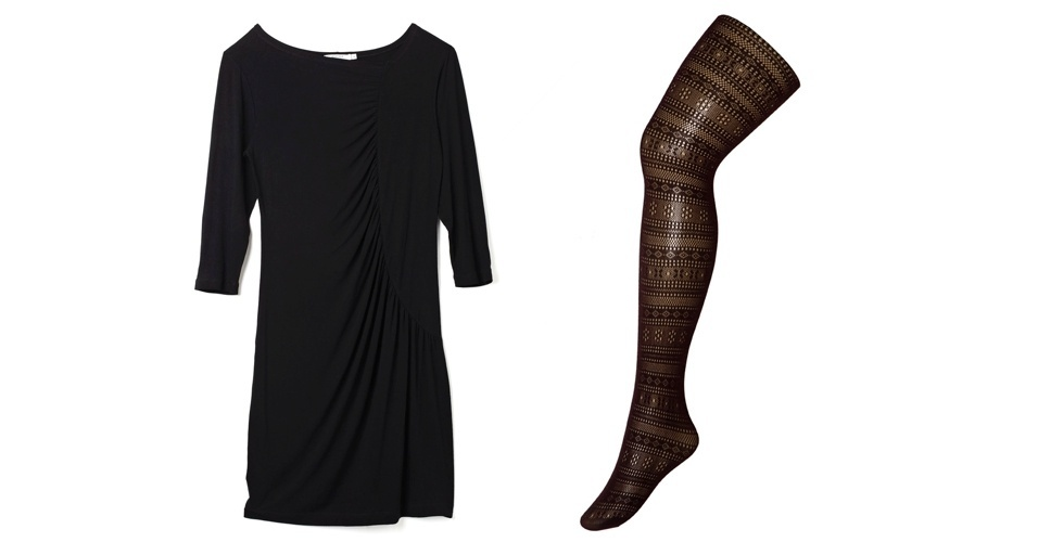 Tire a monotonia do look preto total com uma meia-calça chamativa. Vestido preto; R$ 49,99, Marisa (SAC: 4004-2211). Meia-calça preta R$ 29,90, na Trifil  (SAC 3598-2178)