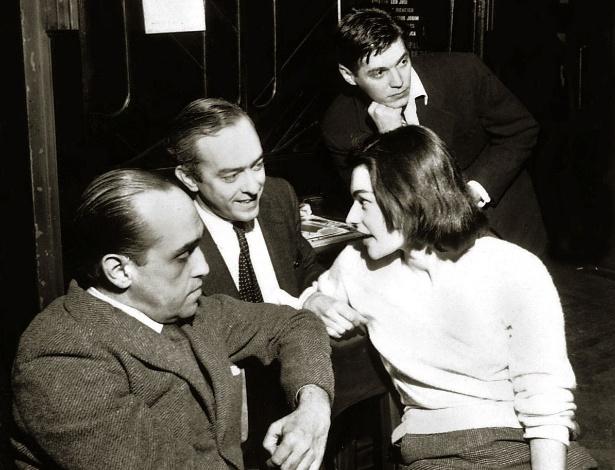 """3.mai.2012 - Niemeyer,Vinicius de Moraes, Tom Jobim e Lila Bôscoli veem """"Orfeu da Conceição"""" em 1956"""