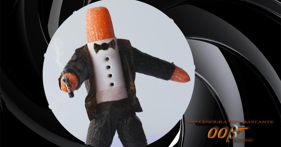 Em 2009, a fotógrafa Vanessa Dualib iniciou o projeto 'Brincando com a Comida', uma série de fotos divertidas em que alimentos se transformam em personagens. Muitas das imagens transformam, em tom bem humorado, alimentos em animais, personagens de cinema e de games. Acima, a 'Cenoura Bond', com cenourinhas, folha de papel manteiga para a camisa e nori para o terno, gravata e botões