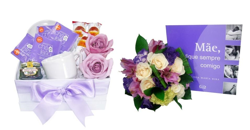 """cesta Entardecer Purple e livro """"Mãe, Fique Sempre Comigo"""" - Giuliana Flores"""