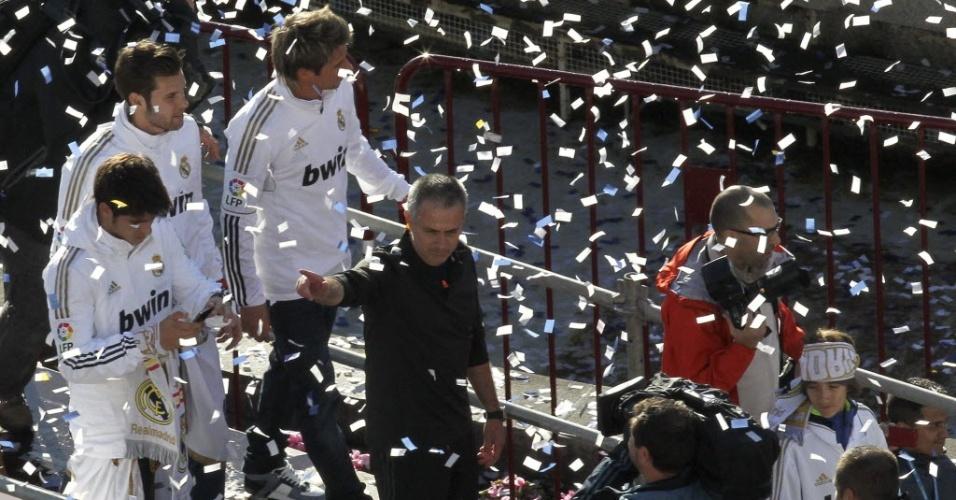 O técnico José Mourinho também fez parte da festa do Real Madrid