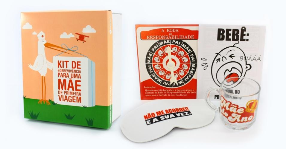 Para mães bem-humoradas, o kit da Objetos com Alma (www.objetoscomalma.com.br) reúne um copo, almofada e joguinhos que tratam do universo maternal. O conjunto custa R$ 123