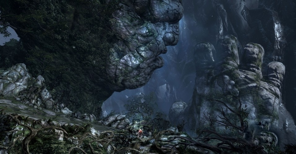A aventura começa com Gaia e os outros titãs subindo o monte Olimpo