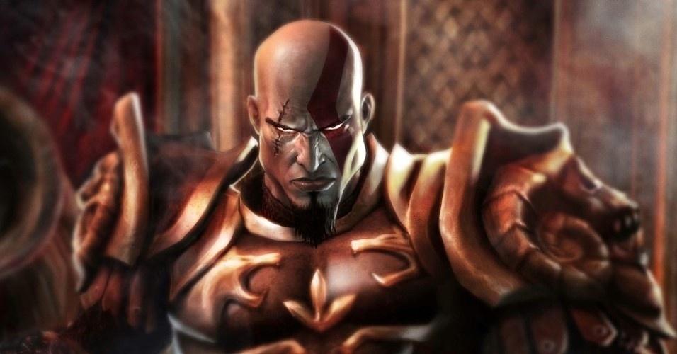 """Agora um deus da guerra, Kratos lidera o ataque dos espartanos à cidade de Rodes em """"God of War II"""" (PS2, 2007). Porém, uma águia gigante tira todos os poderes do herói, rebaixando-o a um mero mortal"""