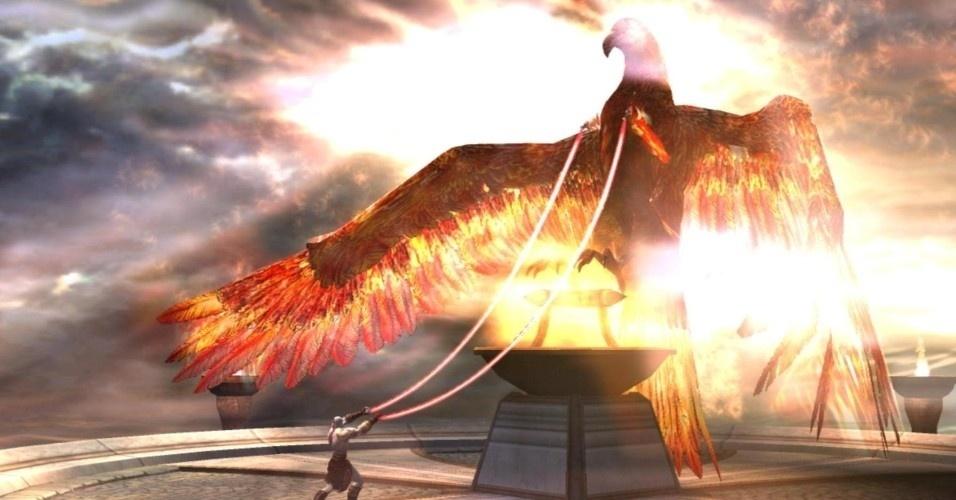 Libertando a fênix, o espartano pode finalmente seguir para a fortaleza onde se escondem as Irmãs do Destino (ou Moiras)