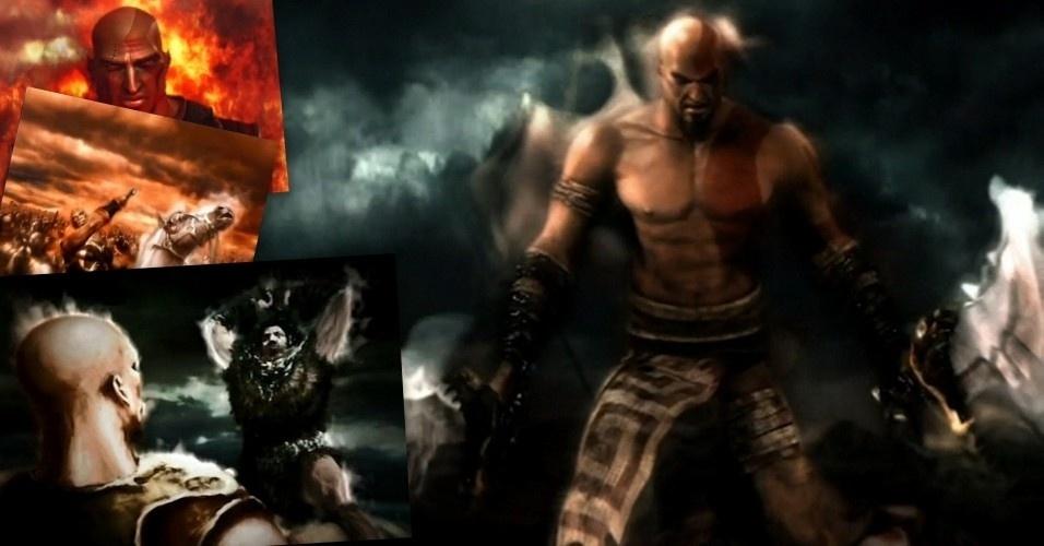 """No primeiro """"God of War"""", Kratos é descrito como um sanguinário general de um exército espartano. Mas, um dia, prestes a ser aniquilado por um bárbaro, pede a Ares, o deus da guerra, por salvação. A divindade atende sua súplica, Kratos ganha sua icônica arma, as lâminas do caos, e jura servidão a Ares"""