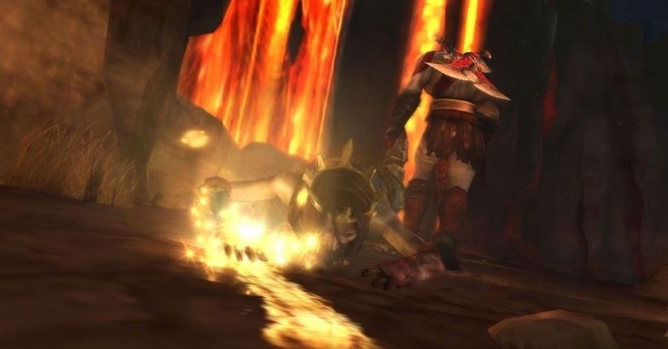 O rei Midas tem um destino duplamente trágico. Ele havia transformado a filha em ouro ao tocá-la sem querer e foi jogado por Kratos dentro da lava para criar uma passagem