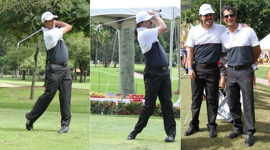 Rodrigo Lombardi e Marcos Pasquim prestigiam evento de golfe na Barra da Tijuca, zona oeste do Rio (4/5/12)