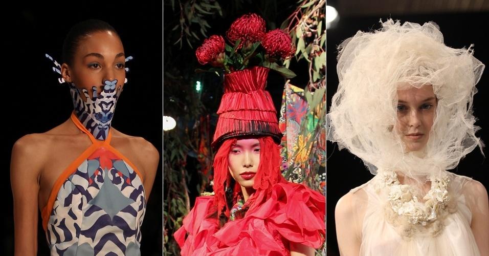 Looks das marcas Akaya Ichikawa, Jenny Lee e Akira desfilados na semana de moda australiana, em Sydney
