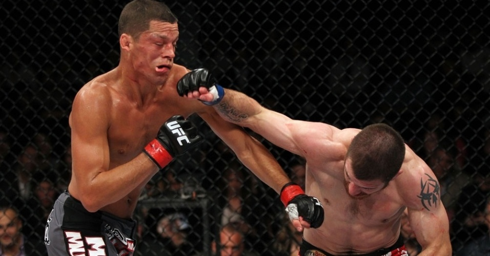 Bem no boxe, Nate Diaz tambm  atingido por Jim Miller, mas fatura a luta com finalizao