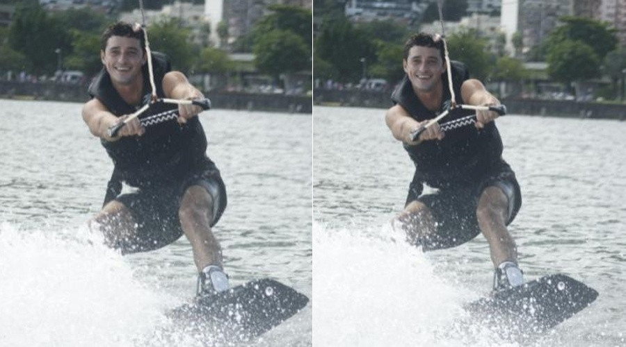Ex-BBB Fael pratica wakeboard na Lagoa Rodrigo de Freitas, zona sul do Rio (7/5/12)