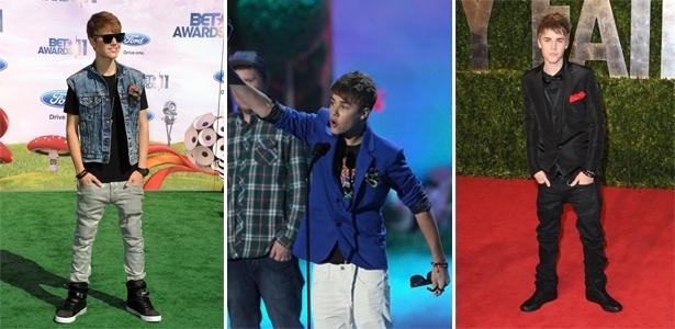 Justin Bieber não abre mão das calças jeans ou de sarja e dos tênis grandes