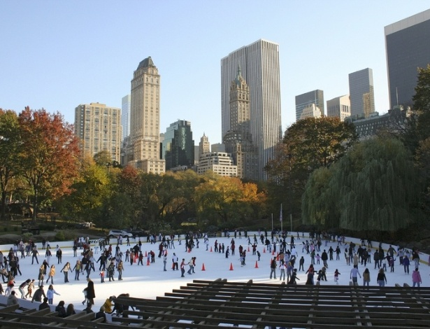 Central Park, na cidade de Manhattan, Nova York, durante o inverno