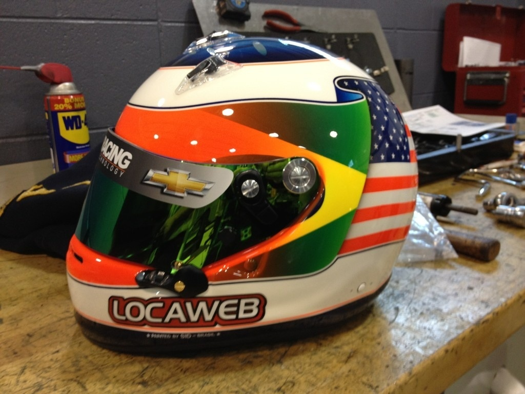 Capacete especial de Rubens Barrichello para as 500 milhas de Indianpolis