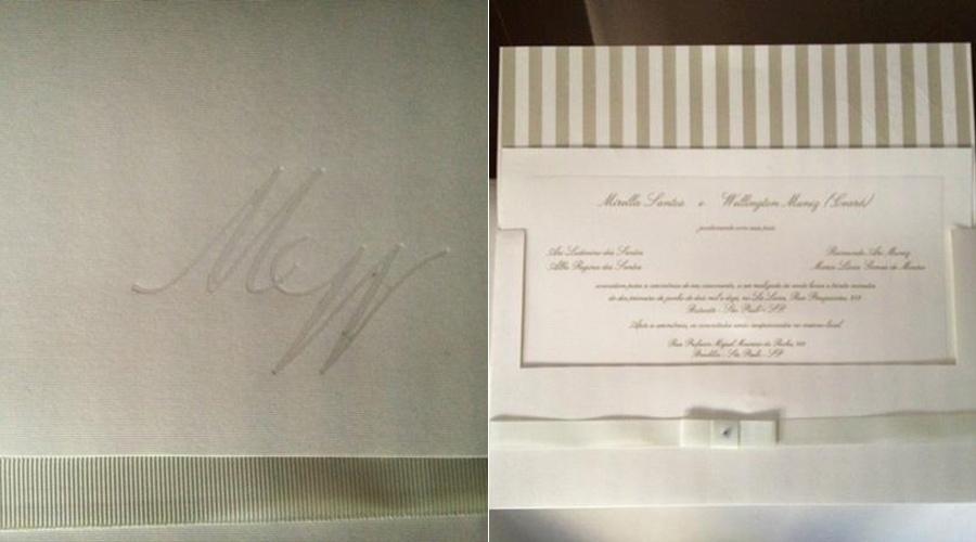 David Brazil divulga imagem do convite de casamento de Mirella Santos e de Wellington Muniz, o Ceará do