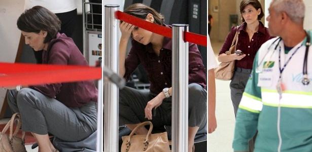 Deborah Secco tem queda de pressão e é atendida por médicos em aeroporto do Rio (9/5/12)