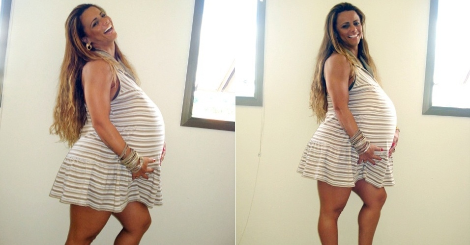 Viviane Araújo posa com barriga postiça de grávida para David Brasil (8/5/12)