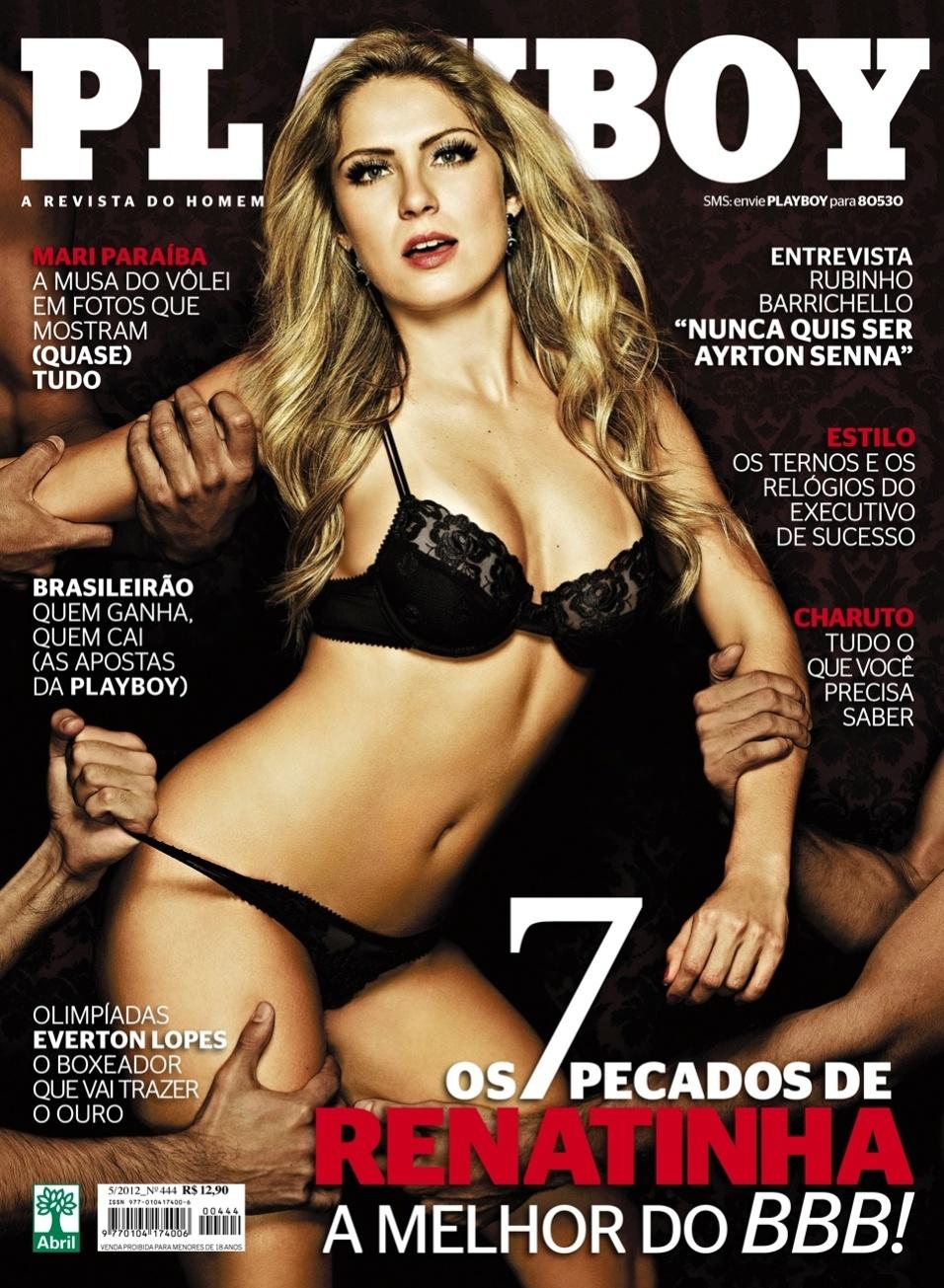 """A ex-BBB Renata Dávila estampa a capa da edição de maio da revista """"Playboy"""". Na foto, ela aparece só de lingerie preta sendo disputada por três homens. Na casa do """"BBB12"""", ela ficou com os participantes Jonas e Rafa e deu em cima de Ronaldo (10/5/12)"""
