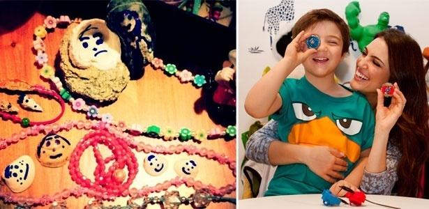 Filha de Fernanda Takai cria colares e bonecos de concha (� dir.) e filho de Chris Flores adora o pi�o Beyblade