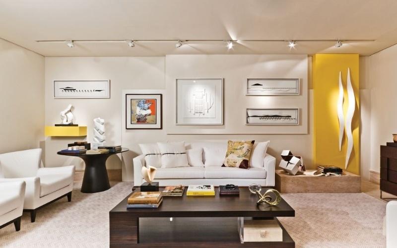 Living dedicado a um colecionador de arte pensado pela arquiteta Patricia Penna - Mostra Artefacto 2012