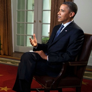 Obama durante entrevista concedida a Robin Roberts, da ABC News, na qual declarou que apoia o casamento entre pessoas do mesmo sexo