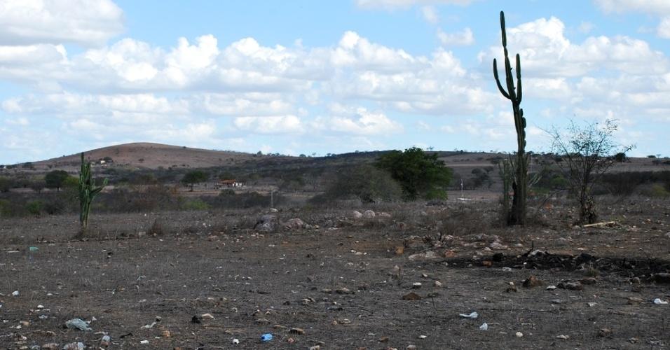 15.mai.2012 - Povoado de Lagoa de Volta, em Sergipe, tem cenário desolador e seca nos pastos. A seca começou a se espalhar novamente pelo Nordeste. Segundo dados das defesas civis e estaduais, mais de 750 municípios já decretaram situação de emergência e mais de 4 milhões de pessoas foram afetadas
