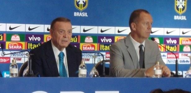 Andrés Sanchez, Jose Maria Marin e Mano Menezes anunciam convocação para amistosos da seleção