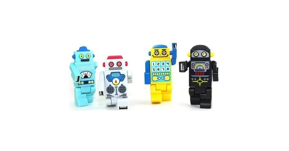 Coloridos, os Robot USBs s&#227;o hubs USB port&#225;teis. As quatro portas do Hub ficam nos bra&#231;os e pernas do robozinho. Quando o rob&#244; &#233; conectado ao computador, os olhos de Led deles acendem