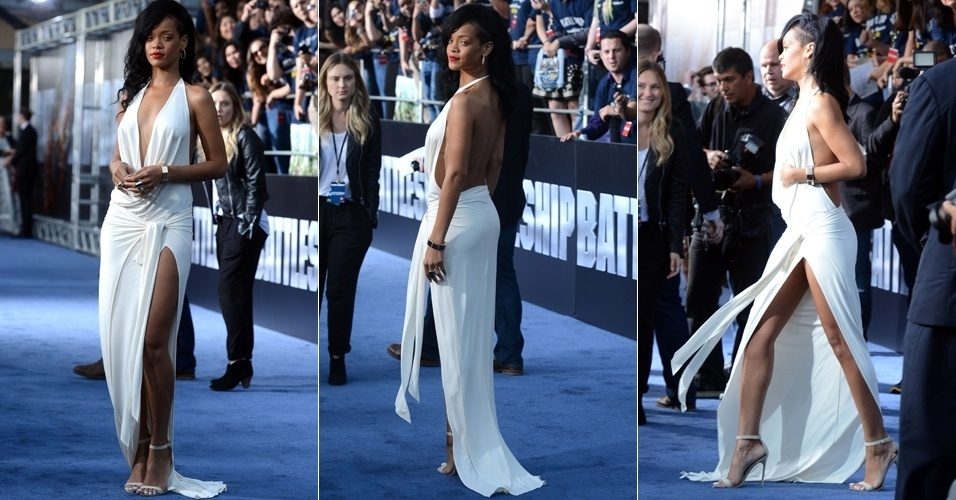 Com vestido decotado e com fenda lateral, Rihanna roubou a cena na pré-estreia de