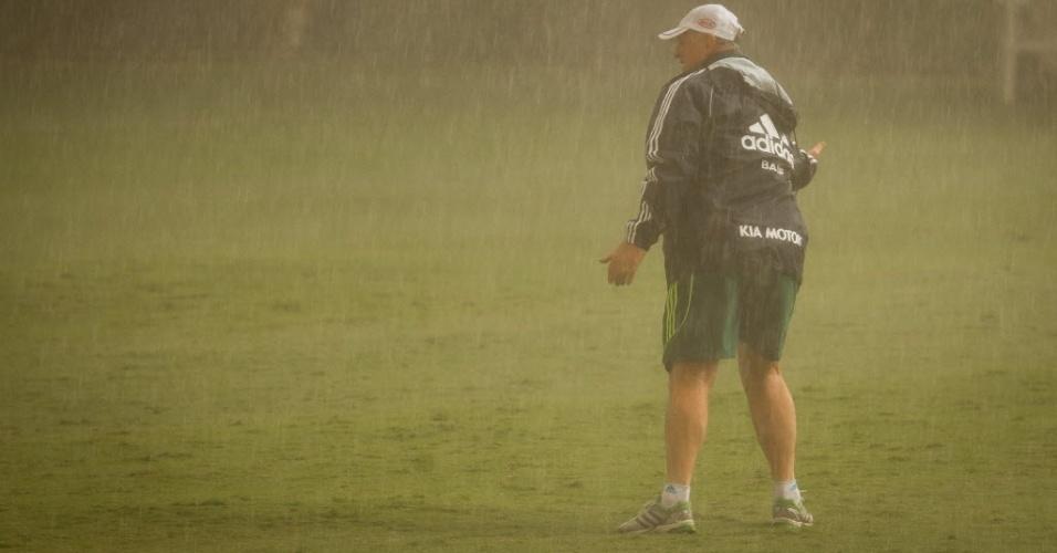 Felipão comanda treino do Palmeiras, em abril, debaixo de forte chuva que atingiu São Paulo
