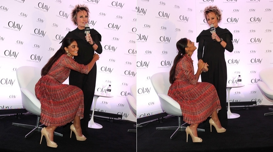 Juliana Paes e Ana Maria Braga participam de ação promocional de marca de cosméticos em hotel localizados nos Jardins, em São Paulo (11/5/12)